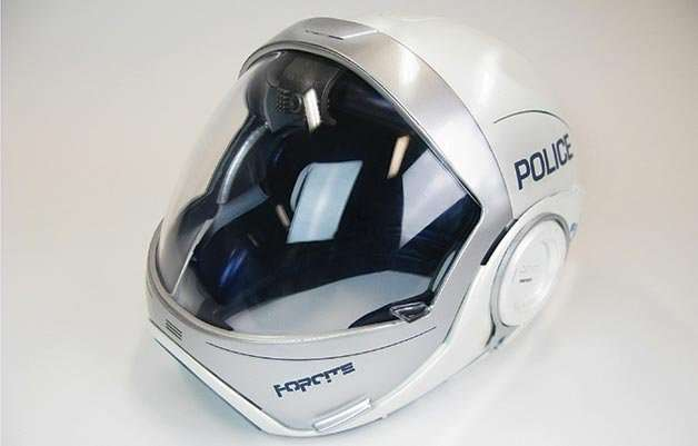 forcite casque du futur pour la police. Black Bedroom Furniture Sets. Home Design Ideas