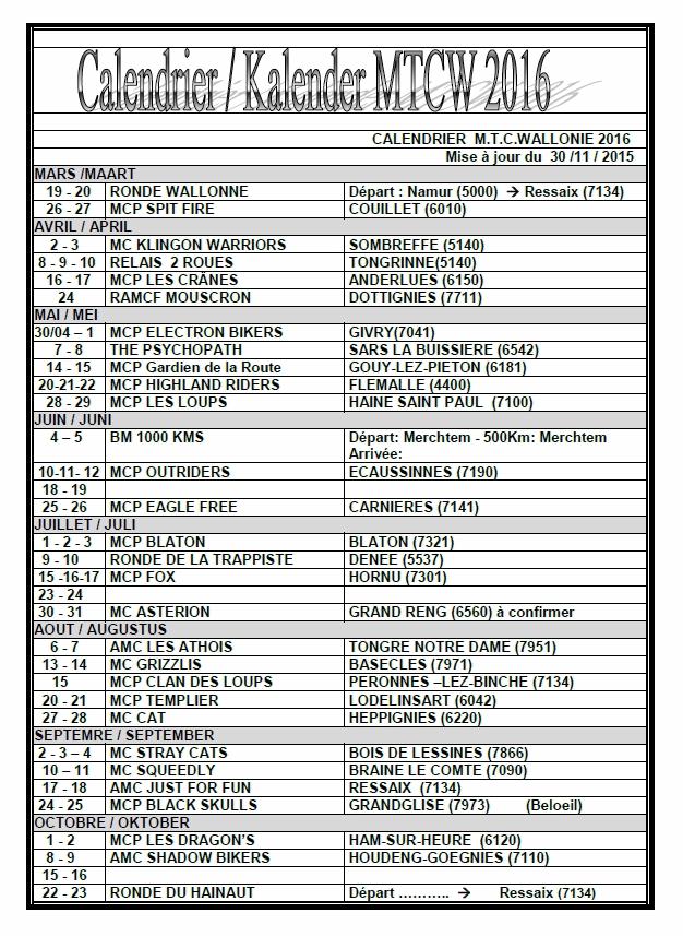 Le calendrier des balades MTC Wallonie