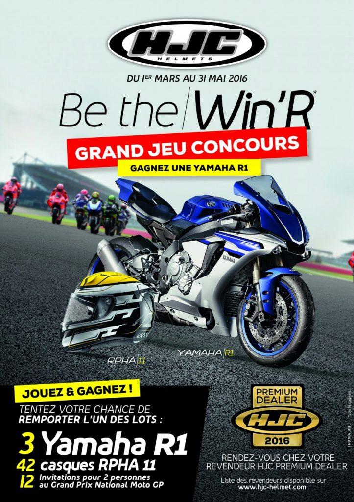 concours hjc yamaha avec 42 casques des places en moto gp et trois r1 2016 en jeu objectif moto. Black Bedroom Furniture Sets. Home Design Ideas