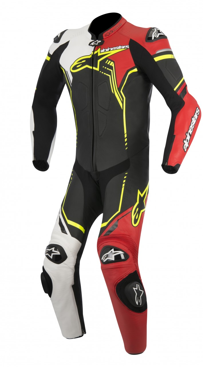 GP_PLUS_leather suit_black_white_red_fluo