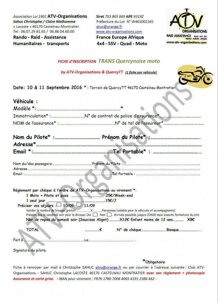 Fiche inscription Trans Quercynoise Moto Route
