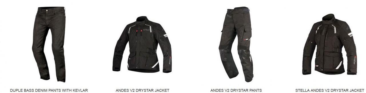 Alpinestars collection printemps 2017 : les textiles